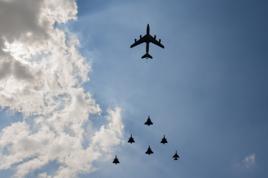 Military aircraft in formation