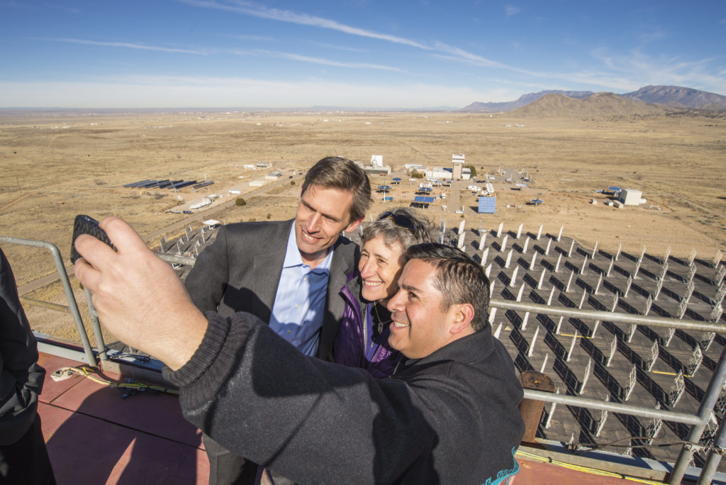 Luján, right, snaps a selfie with Interior Secretary Sally Jewell and Sen. Martin Heinrich (D-N.M.). (Image via Flickr)