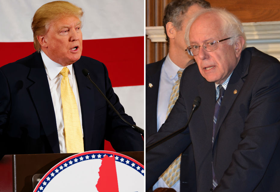 Trump and Sanders rose to new heights in our latest national survey. (Images via Flickr)