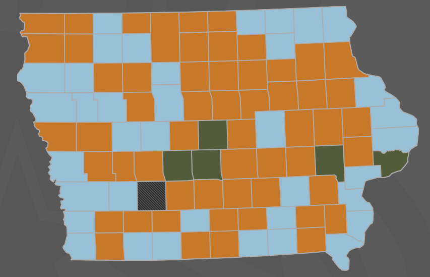 Source: Iowa Republican Party. Orange counties went for Cruz; light blue counties went for Trump; green counties went for Rubio.