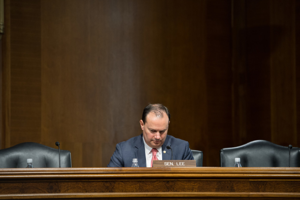 Lee is leading the Senate GOP's charge for a sentencing overhaul. (Rob Kunzig/Morning Consult)
