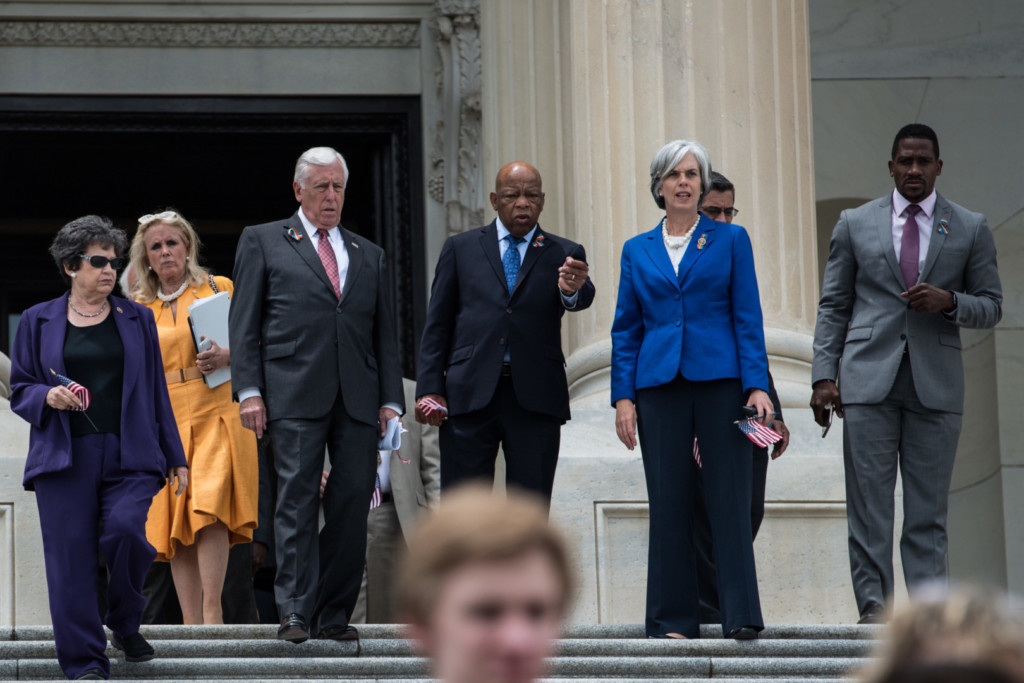 House Democrats emerge from their daylong sit-in to protest a lack of votes on gun control. (Rob Kunzig/Morning Consult)