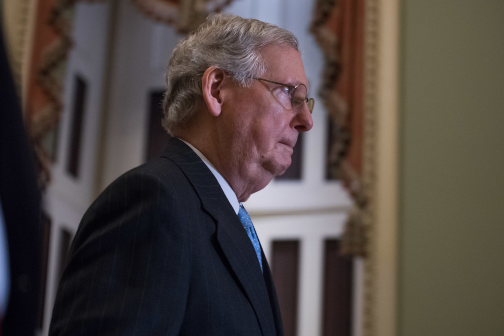 McConnell knows the Senate GOP has an uphill climb. (Rob Kunzig/Morning Consult)