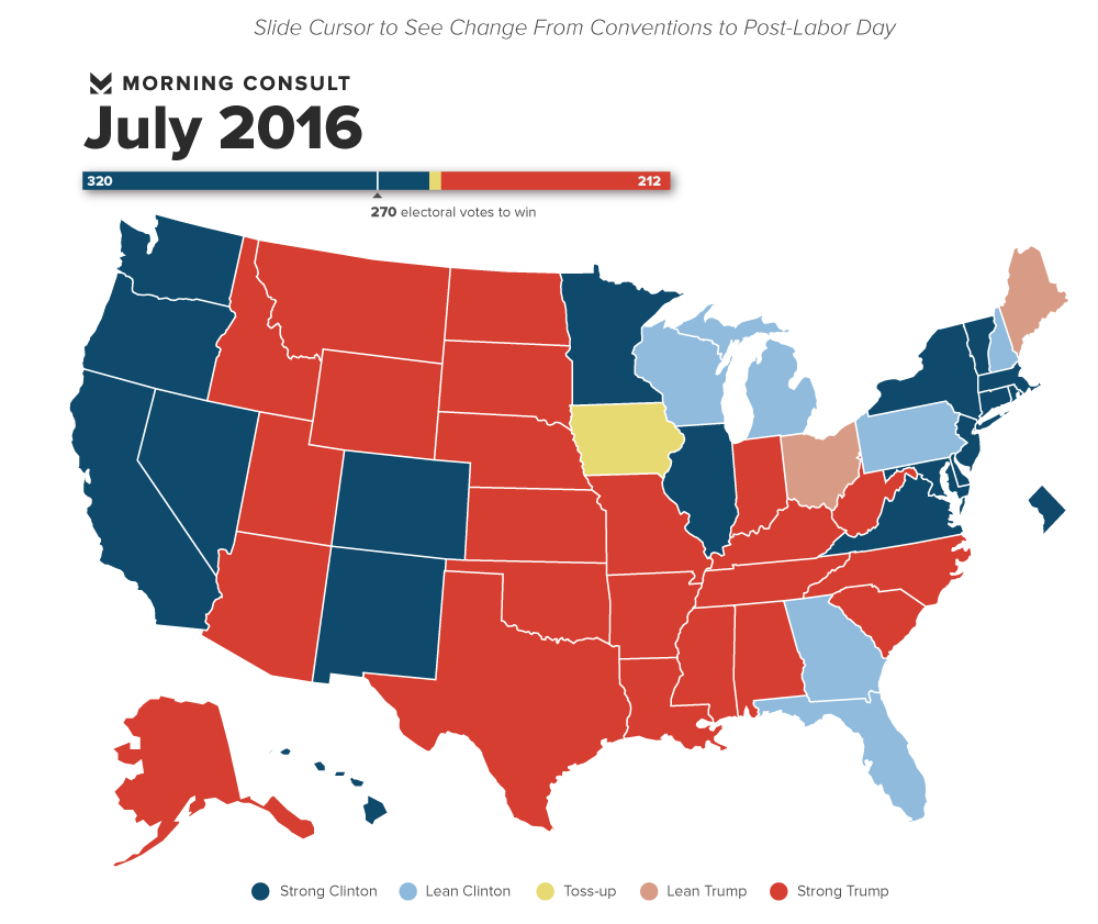 State Poll Hillary Clinton Still Leads Where It Matters - Us current election map