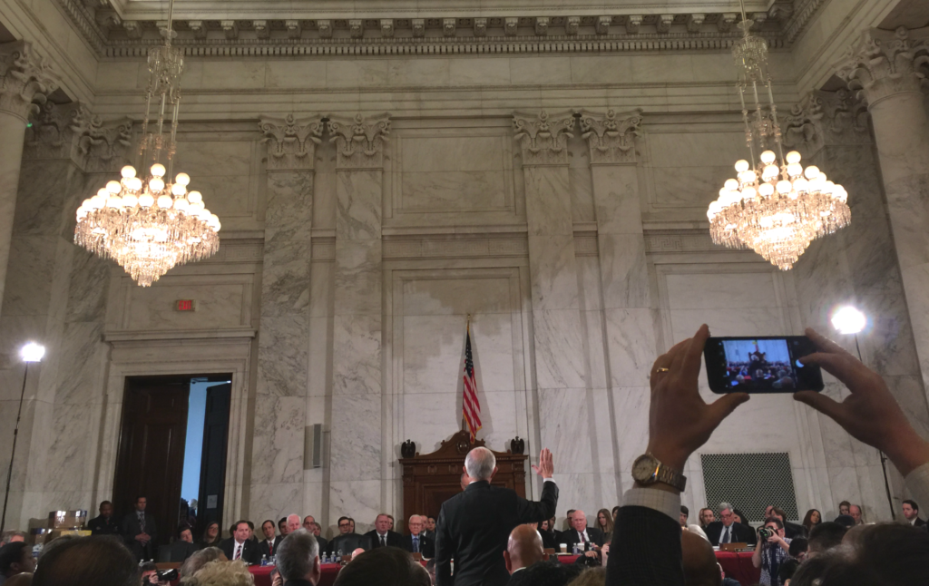 Sessions takes the oath Tuesday. (Jon Reid/Morning Consult)