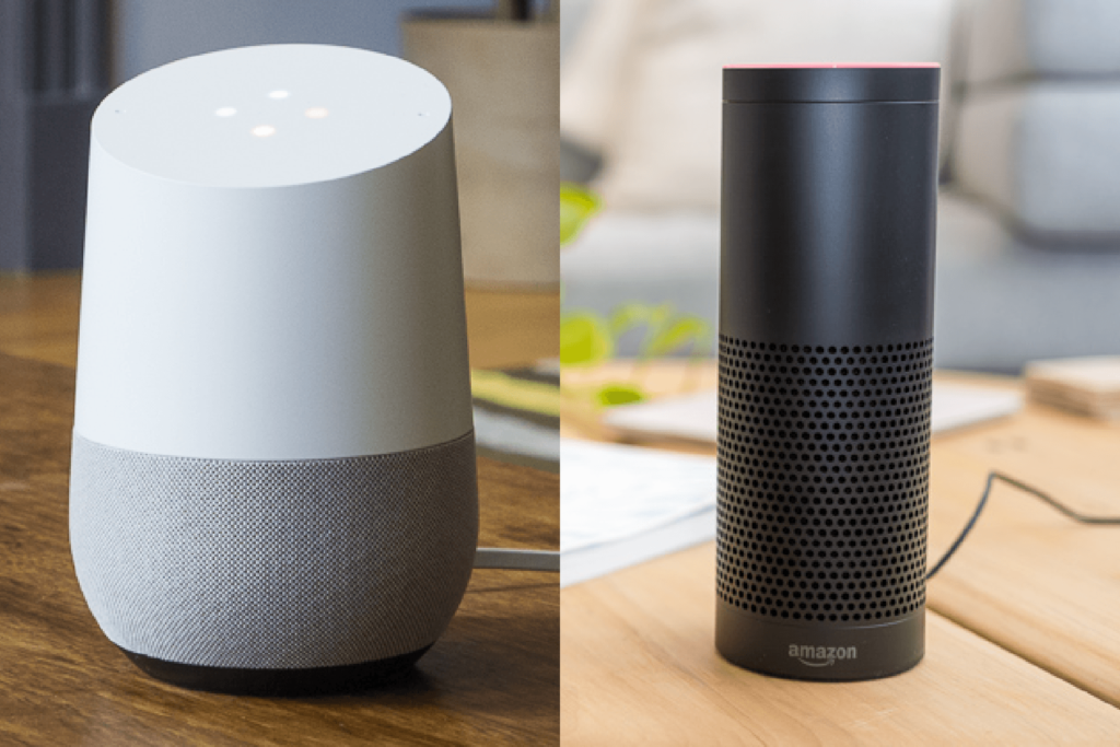 Virtual assistants by Google and Amazon among devices surveyed.