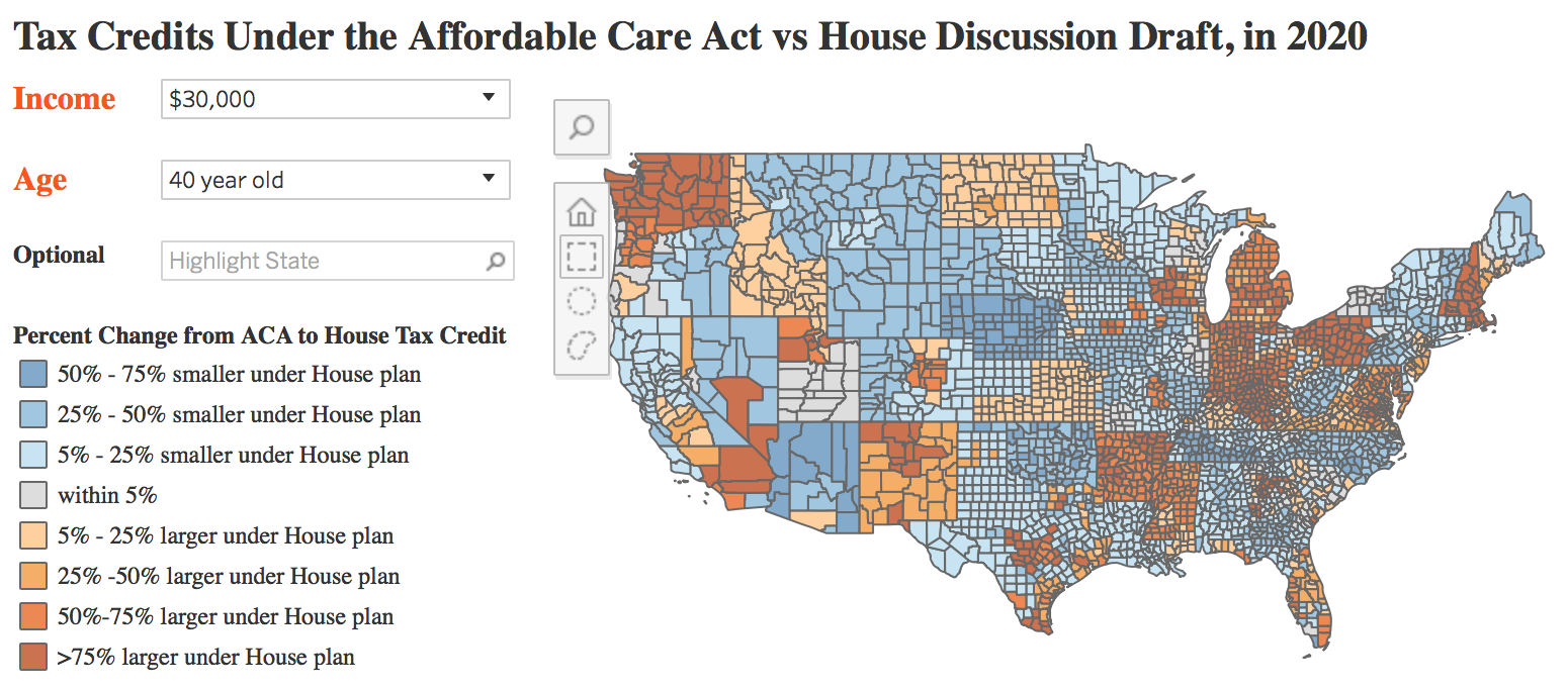 Image result for Tax Credits under the Affordable Care Act vs. the American Health Care Act: An Interactive Map